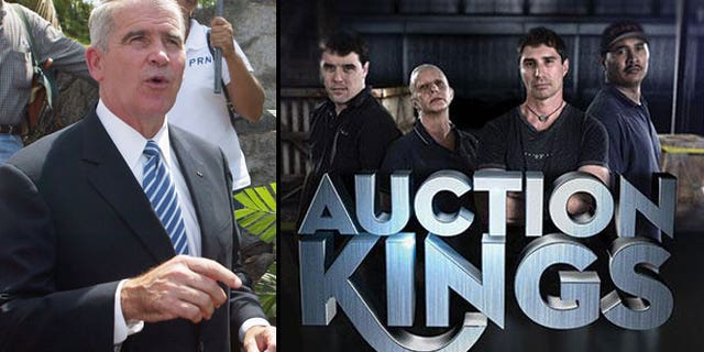 """Oliver North (left) and the team from """"Auction Kings."""""""