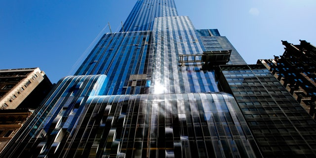 April 24, 2014: One57, a new luxury skyscraper apartment building designed by French architect Christian de Portzamparc which is under construction on New York City's West 57th street.
