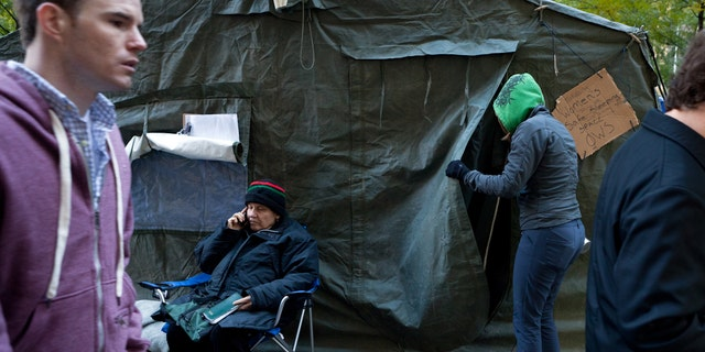 """Protestors set up a """"safe haven tent"""" at Zuccotti Park this week after reports of sexual assaults at the protest site. The miltary-grade tent can accomodate up to 19 people."""
