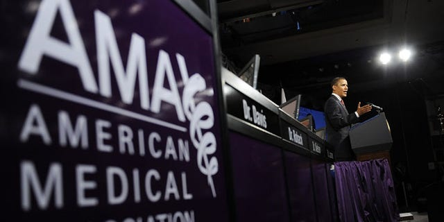 June 15, 2009: President Obama delivers remarks on the health care system at the annual meeting of the American Medical Association.