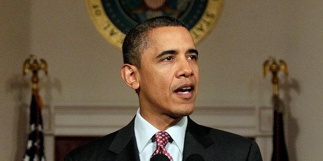 Feb. 11: President Barack Obama makes a statement on the resignation of Egypt's President Hosni Mubarak in the Grand Foyer at the White House in Washington. (AP)