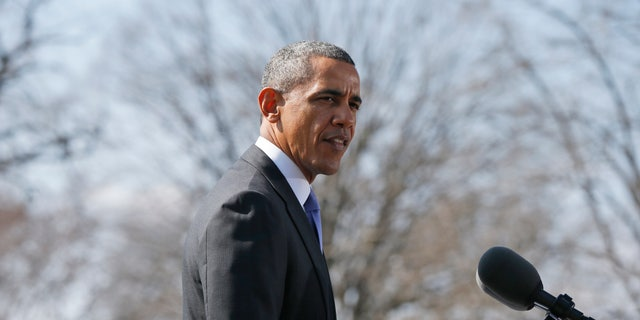 President Barack Obama makes a statement on Ukraine, Thursday, March 20, 2014, on the South Lawn at the White House.