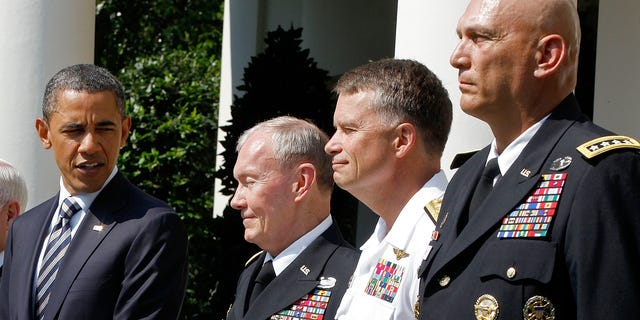 May 30: President Obama introduces his choice for the next chairman of the Joint Chiefs of Staff, from left, Army Gen. Martin Dempsey, the next vice chairman of the Joint Chiefs of Staff Adm. James Winnefeld and Gen. Ray Odierno to be Army chief of staff.