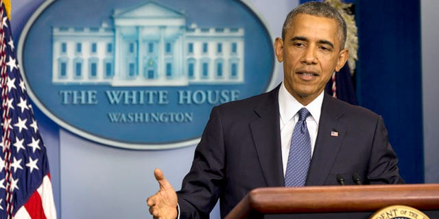 President Barack Obama speaks in the Brady Press Briefing Room of the White House in Washington, Friday, Aug. 1, 2014.