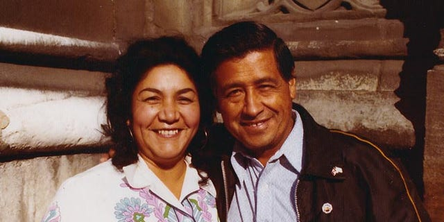 Cesar Chavez and wife Helen Chavez, during a European tour promoting the grape boycott in London in 1974.