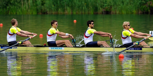 May 27, 2012: Alex Gregory, Pete Reed, Tom James and Andrew Triggs Hodge of Britain during the Men's Quadruple Final A race at the World Rowing Cup on Lake Rotsee in Lucerne, Switzerland.