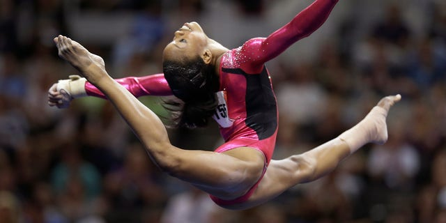 June 29, 2012: Gabby Douglas performs in the floor exercise event during the preliminary round of the women' Olympic gymnastics trials in San Jose, Calif.