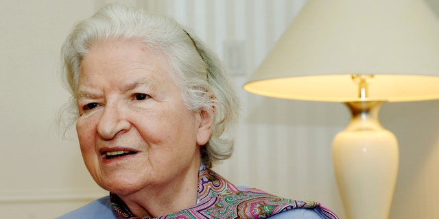 """Nov. 27, 2005. P.D. James  as she discusses her latest novel, """"The Lighthouse,"""" another mystery featuring Scotland Yard detective Adam Dalgliesh, during an interview in New York."""