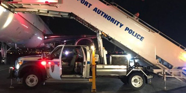 The Port Authority Police Department and Aircraft Rescue Fire Fighters responded to the scene when the flight landed in Newark at 2:30 am.