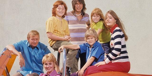"""From l-r: """"The Partridge Family"""" stars Dave Madden, Shirley Jones, Danny Bonaduce, David Cassidy, Brian Forster, Suzanne Crough, Susan Dey pictured in 1972."""