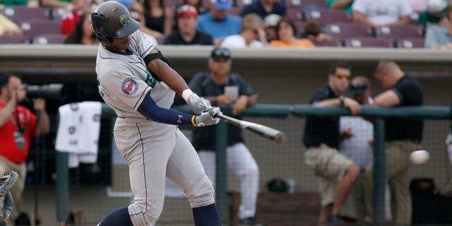 Jun 18, 2013; Dayton, OH, USA; West right fielder Adam Brett Walker bats during the Midwest League-All Star Game at Fifth Third Field. Mandatory Credit: David Kohl-USA TODAY Sports