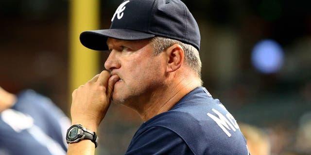 Jun 2, 2015; Phoenix, AZ, USA; Atlanta Braves pitching coach Roger McDowell against the Arizona Diamondbacks at Chase Field. Mandatory Credit: Mark J. Rebilas-USA TODAY Sports