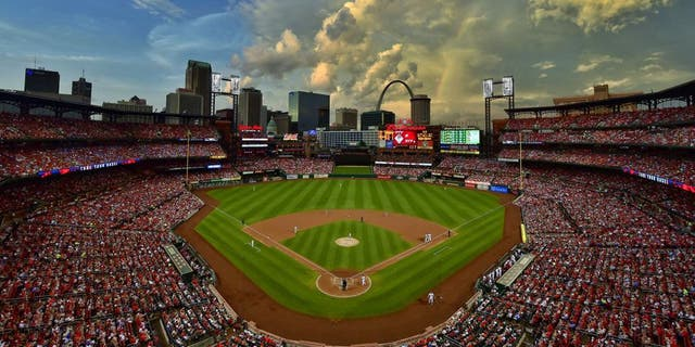 Jun 20, 2014; St. Louis, MO, USA; A general view of Busch Stadium during the game between the St. Louis Cardinals and the Philadelphia Phillies. Mandatory Credit: Scott Rovak-USA TODAY Sports