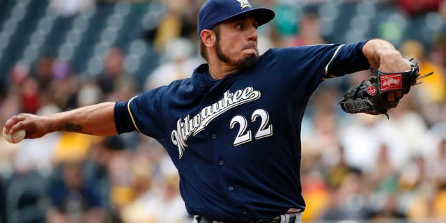 Milwaukee Brewers starting pitcher Matt Garza throws in the first inning against the Pittsburgh Pirates in Pittsburgh, Sunday, April 19, 2015.