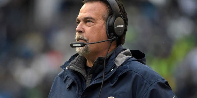 Dec 27, 2015; Seattle, WA, USA; St. Louis Rams head coach Jeff Fisher reacts during an NFL football game against the Seattle Seahawks at CenturyLink Field. Mandatory Credit: Kirby Lee-USA TODAY Sports