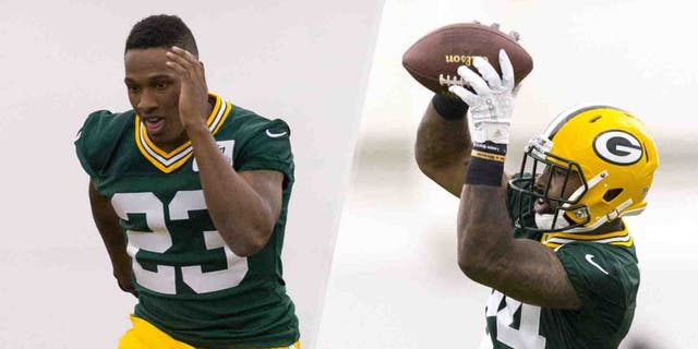 Green Bay Packers first-round draft pick Damarious Randall (left) and second-round pick Quinten Rollins run through drills during rookie minicamp Friday in Green Bay, Wis.