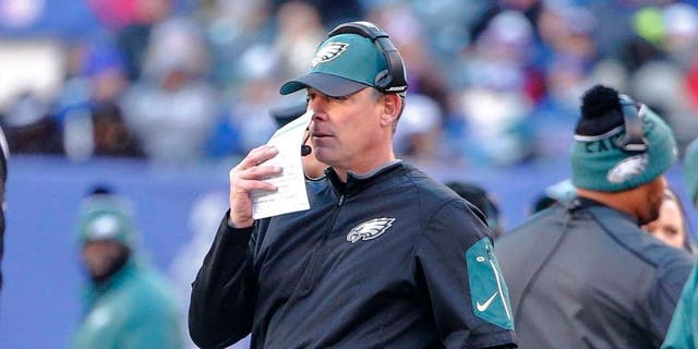 Philadelphia Eagles interim head coach Pat Shurmur looks on from the sidelines during a game against the New York Giants at MetLife Stadium in East Rutherford, N.J., on Jan. 3, 2016. The Eagles won 35-30.