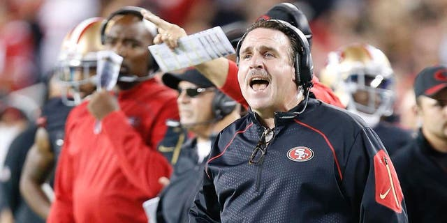 San Francisco 49ers head coach Jim Tomsula reacts on the sideline during the first half of an NFL football game against the Minnesota Vikings in Santa Clara, Calif., on Monday, Sept. 14, 2015.