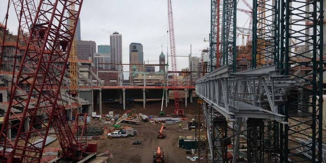 Construction of the new Minnesota Vikings stadium progresses in April 2015.