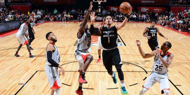 LAS VEGAS, NV - JULY 18: Tyus Jones #1 of the Minnesota Timberwolves shoots the ball against the Chicago Bulls during the 2016 NBA Las Vegas Summer League game on July 18, 2016 at the Thomas & Mack Center in Las Vegas, Nevada. NOTE TO USER: User expressly acknowledges and agrees that, by downloading and or using this photograph, User is consenting to the terms and conditions of the Getty Images License Agreement. Mandatory Copyright Notice: Copyright 2016 NBAE (Photo by David Dow/NBAE via Getty Images)