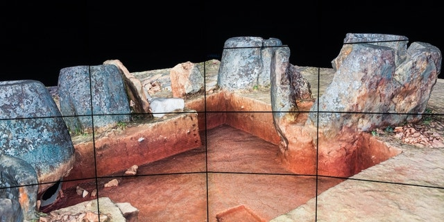 The aerial landscape images and other data from research at the Plain of Jars have been integrated into an advanced 3D simulation at the Cave2 virtual reality facility at Monash University.