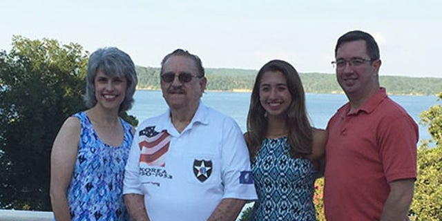 Veteran Rafael Diaz with daughter Beatrice Muncy (L), granddaughter Cristina Muncy and son-in-law, Jim Muncy (R).