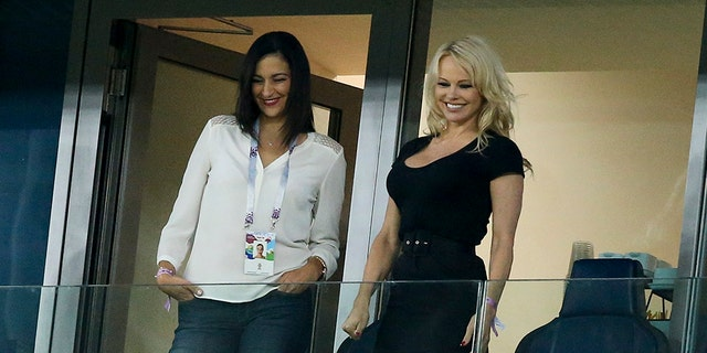Pamela Anderson could be seen in Saint Petersburg Stadium as she watched over her boyfriend, Adil Rami.