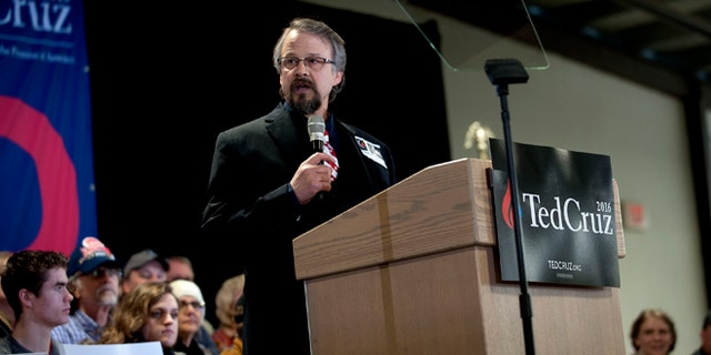 Pastor Tim Remington during Ted Cruz rally on Sat. March 5, 2016 in Coeur d'Alene, Idaho.