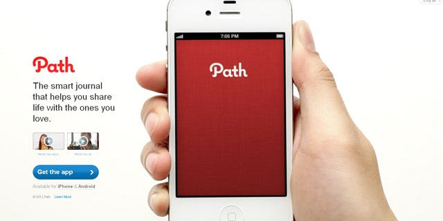 This photo is of the homepage of Path.com.