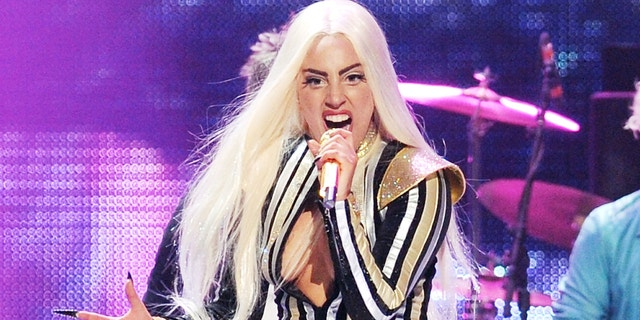 This Dec. 15, 2012 file photo shows singer Lady Gaga performing at the Prudential Center in Newark, N.J.