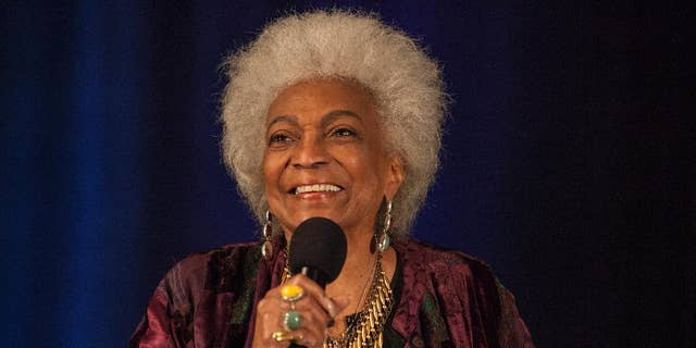 "Nichelle Nichols appears at a ""Star Trek"" convention in Rosemont, Ill., June 8, 2014. (Associated Press)"