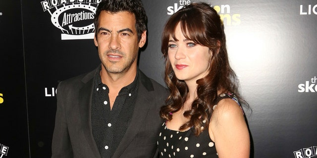 "Jacob Pechenik, left, and Zooey Deschanel attend ""The Skeleton Twins,"" premiere at ArcLight Theatre in Los Angeles."