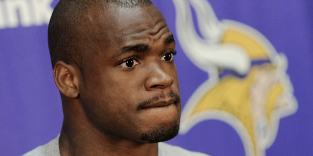 June 20, 2012: Minnesota Vikings NFL football running back Adrian Peterson talks about his  rehab following surgery for a torn ACL suffered last season,  as he addressed reporters during minicamp in Eden Prairie, Minn.