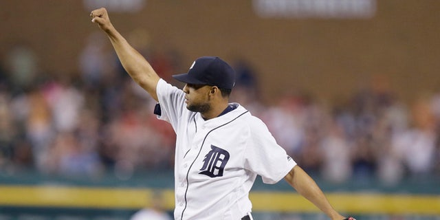 Detroit Tigers relief pitcher Francisco Rodriguez  on Tuesday, May 24, 2016, in Detroit.