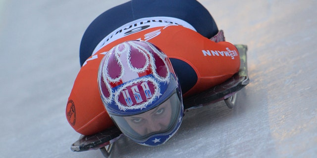 Jan. 17. 2014: Noelle Pikus-Pace from the United States speeds down the track during her first run in the women's Skeleton World Cup race in Innsbruck, Austria.