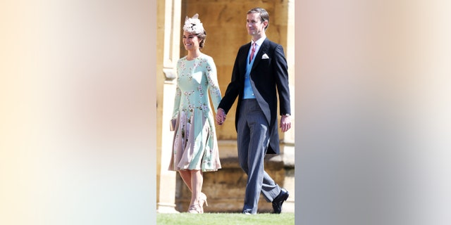 Pippa Middleton and James Matthews arrive for the wedding ceremony of Prince Harry and Meghan Markle at St. George's Chapel in Windsor Castle in Windsor, near London, England, Saturday, May 19, 2018. (Chris Jackson/pool photo via AP)