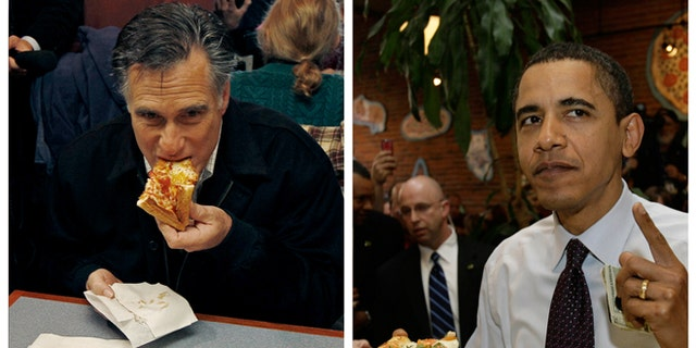 Mitt Romney, left, takes a bite of pizza during lunch with his wife Ann while campaigning at Village Pizza in Newport, N.H., Dec. 20, 2011, and then-Senator Barack Obama, right, takes a bite of pizza at American Dream Pizza in Corvallis, Ore., March 21, 2008.