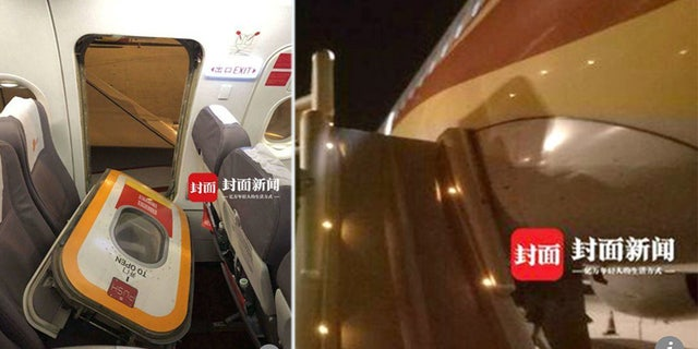 A passenger in China claimed he opened the emergency exit door by accident.