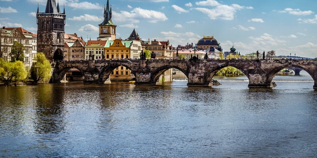 Pargue , view of the Lesser Bridge Tower and Charles Bridge (Karluv Most), Czech Republic.