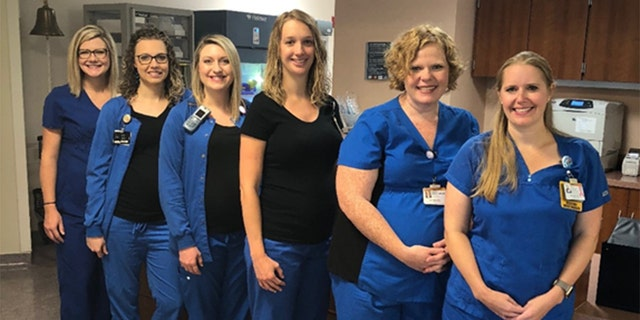 All six nurses are expecting within months of each other.