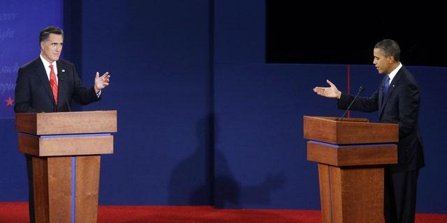 Oct. 3- Republican presidential candidate, former Massachusetts Gov. Mitt Romney, left, and President Barack Obama, right, debate at the University of Denver.