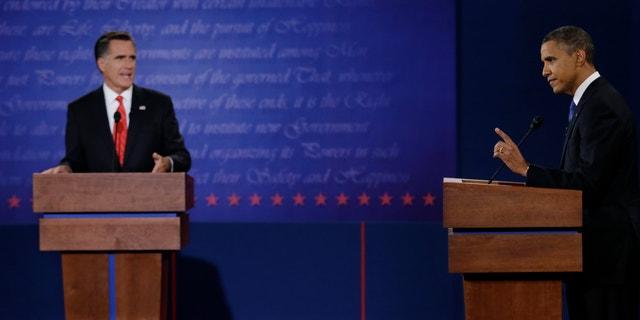 Oct. 3, 2012: President Obama and Mitt Romney debate in Denver.