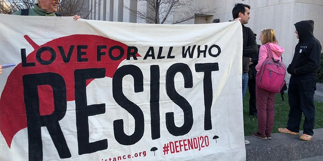 Supporters of the six protesters acquitted of riot and destruction of property charges during Inauguration Day events stood outside the Washington Superior Courthouse in solidarity on Thursday.