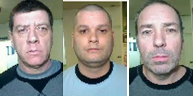 June 7, 2014: These images taken from police handout photos show, from left, Denis Lefebvre, Yves Denis, and Serge Pomerleau. (AP/The Canadian Press, Surete Du Quebec)