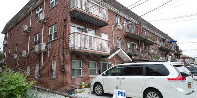 The house were five people were stabbed overnight is seen, Friday, Sept. 21, 2018, in New York.