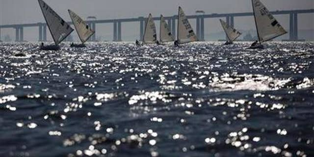 Aug. 3, 2014: In this file photo, athletes of the Finn class compete during the first test event for the Rio 2016 Olympic Games at the Guanabara Bay in Rio de Janeiro, Brazil.