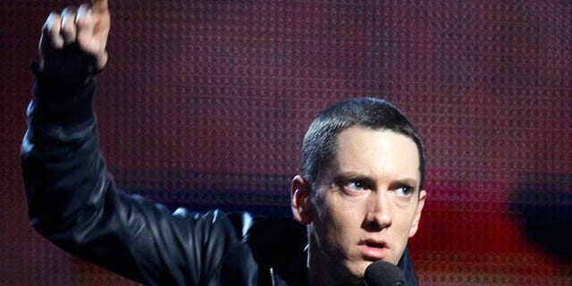 """Feb. 13, 2011: Eminem accepts his award for Best Rap Solo Performance for """"Not Afraid"""" at the 53rd annual Grammy Awards in Los Angeles, California."""