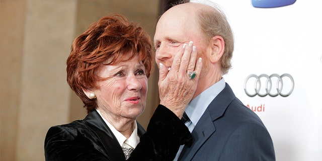 "Director and actor Ron Howard, Hall of Fame inductee, poses with his former TV co-star Marion Ross from ""Happy Days"" on March 11, 2013."