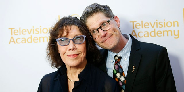 Bob Bergen (right) with friend, actress Lily Tomlin.
