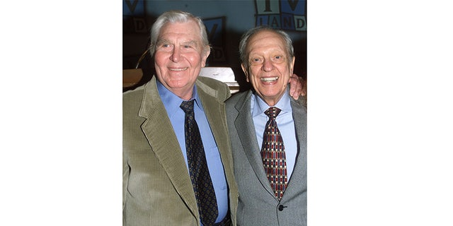 """Actor Don Knotts, best known for his role as Deputy Barney Fife on the popular 1960's television series """"The Andy Griffith Show,"""" poses at a luncheon honoring Knotts with actor Andy Griffith. Knotts received a star on the Hollywood Walk of Fame on January 19, 2000."""